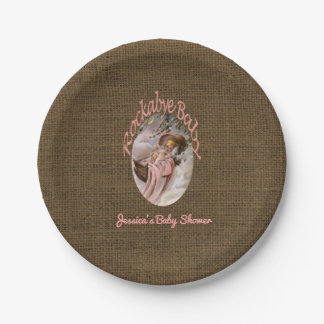Rustic Burlap Baby Shower | Coral Pink Lullaby Paper Plate
