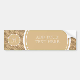 Rustic Burlap Background Monogram Car Bumper Sticker