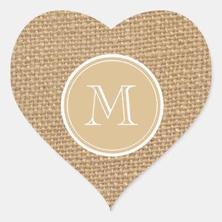 Rustic Burlap Background Monogram Heart Sticker