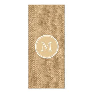 Rustic Burlap Background Monogram 4x9.25 Paper Invitation Card