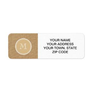 Rustic Burlap Background Monogram Return Address Label