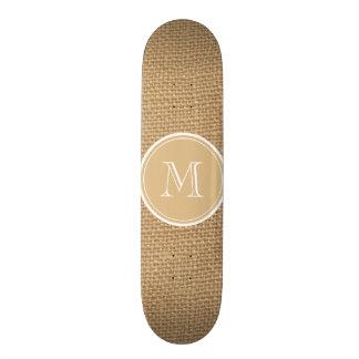 Rustic Burlap Background Monogram Skate Board