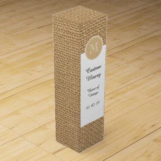 Rustic Burlap Background Monogram Wine Box
