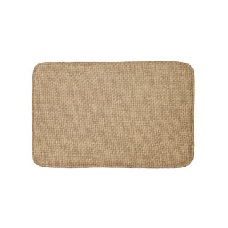 Rustic Burlap Background Printed Bath Mat