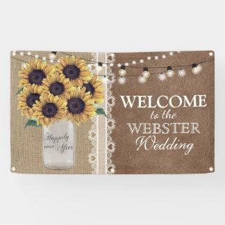 Rustic Burlap Barn Wedding Sunflower Mason Jar Banner