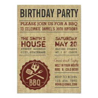Rustic Burlap Birthday Party BBQ Invitations