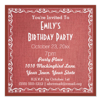 Rustic Burlap Birthday Party Card