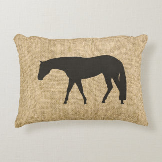 Rustic Burlap Black Western Pleasure Horse Decorative Cushion