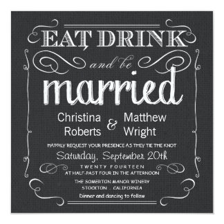 Rustic Burlap Black White Wedding Invitations