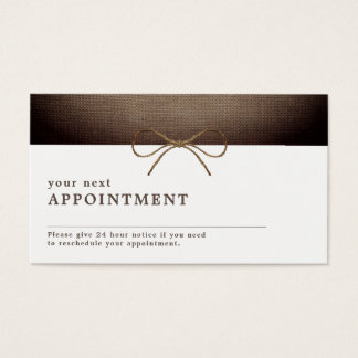 Rustic Burlap Bow, Appointment Business Card