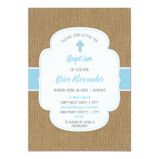Rustic burlap boy baptism christening invite