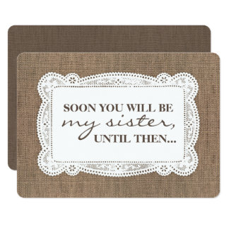 Rustic Burlap Bridesmaid / Maid of Honor Proposal Card