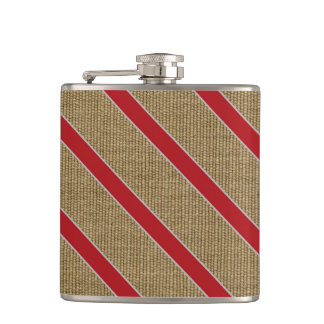 Rustic Burlap Candy Cane Hip Flask
