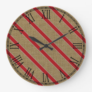 Rustic Burlap Candy Cane Large Clock