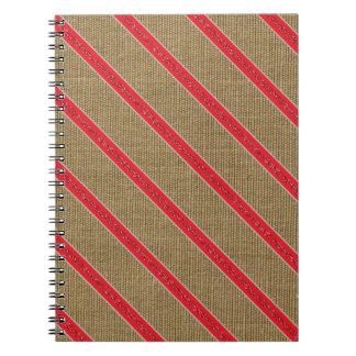 Rustic Burlap Candy Cane Notebook