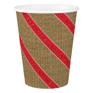 Rustic Burlap Candy Cane Paper Cup