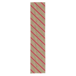 Rustic Burlap Candy Cane Short Table Runner