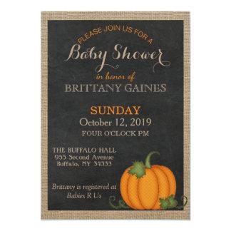 Rustic Burlap Chalkboard Orange Pumpkin Shower Card