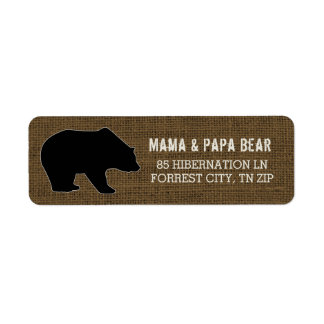 Rustic Burlap | Country Black Bear Silhouette Return Address Label