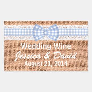 Rustic Burlap Country Wedding Mini Wine Label Rectangular Sticker