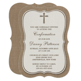 Rustic Burlap Cross Holy Communion Or Confirmation Card