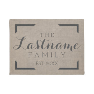 Rustic Burlap - Custom Family or Wedding Sign Doormat