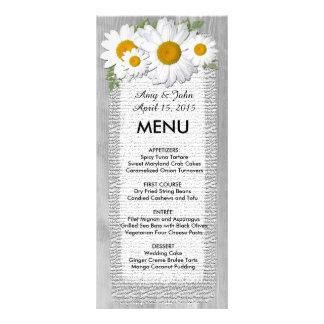 Rustic burlap daisy wedding menu daisy2