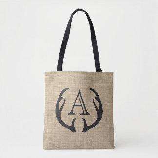 Rustic Burlap Deer Antler Monogrammed Tote Bag