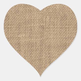 Rustic Burlap Design Heart Sticker