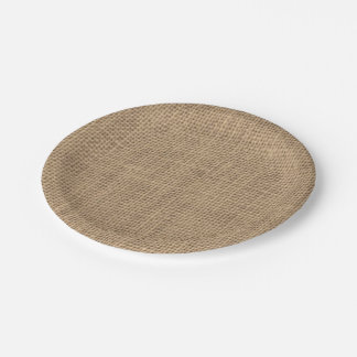 Rustic Burlap Effect Paper Plate 7 Inch Paper Plate