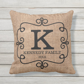 Rustic Burlap Family Name Monogrammed Outdoor Cushion