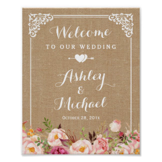 Rustic Burlap Floral Welcome Wedding Sign