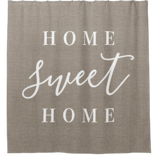 Rustic Burlap Home Sweet Home Shower Curtain