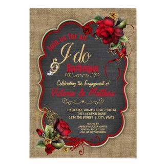 Rustic Burlap I Do BBQ Couples BBQ Shower 13 Cm X 18 Cm Invitation Card
