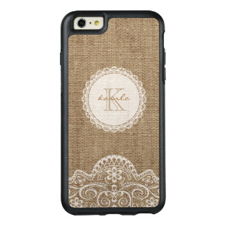 Rustic Burlap Ivory Lace Monogram Name OtterBox iPhone 6/6s Plus Case