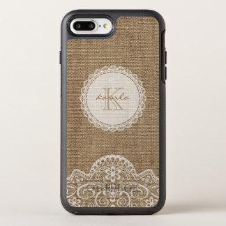 Rustic Burlap Ivory Lace Monogram Name OtterBox Symmetry iPhone 7 Plus Case
