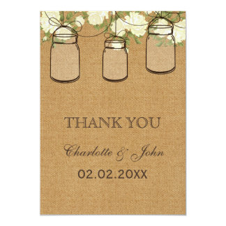 rustic burlap ivory roses mason jars Thank You 13 Cm X 18 Cm Invitation Card