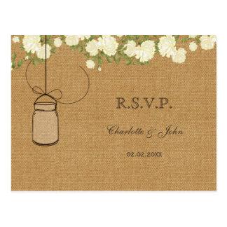 rustic burlap ivory roses wedding RSVP Postcard