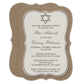 Rustic Burlap Jewish Star Of David Bar Mitzvah Card