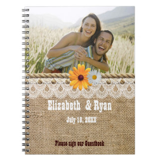 Rustic Burlap, Lace and Rope,Wedding Guest Sign In Notebook