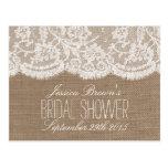 Rustic Burlap & Lace Bridal Shower Recipe Cards Postcard