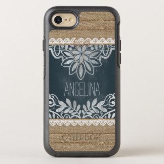 Rustic Burlap Lace Chalkboard Personalized OtterBox Symmetry iPhone 8/7 Case