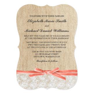Rustic Burlap Lace Coral Ribbon Wedding 13 Cm X 18 Cm Invitation Card