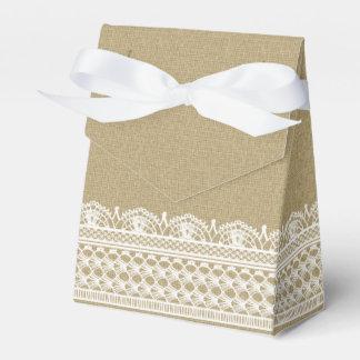 Rustic Burlap Lace Country Wedding Favour Box