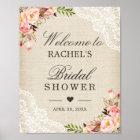 Rustic Burlap Lace Floral Bridal Shower Sign