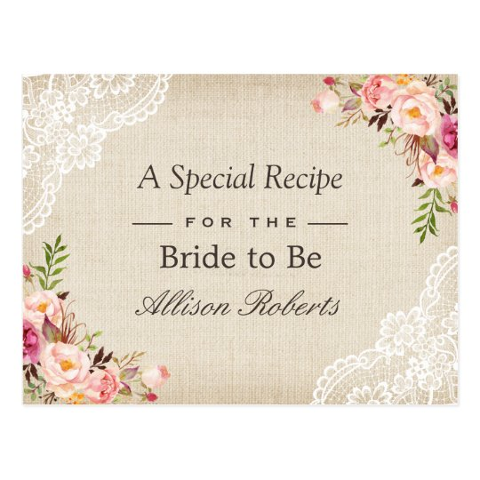 Rustic Burlap Lace Floral Bride To Be Recipe Card