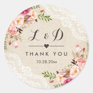 Rustic Burlap Lace Floral Wedding Favor Classic Round Sticker
