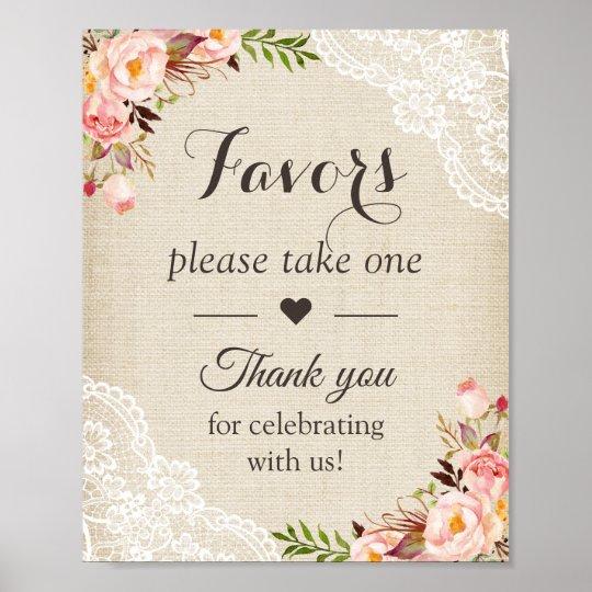 Rustic Burlap Lace Floral Wedding Favours Sign