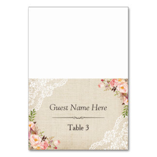 Rustic Burlap Lace Floral Wedding Place Card