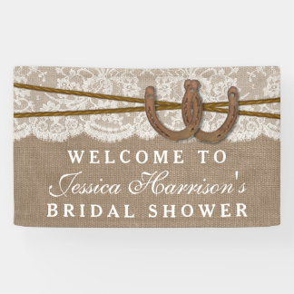 Rustic Burlap & Lace Horseshoe Bridal Shower Banner
